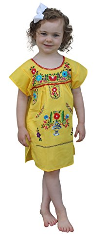 Mexican Puebla Dress Youth Girls, Yellow, Size 10]()