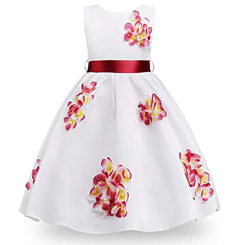 MOREMOO Little Girl Beads Embroidered Flowers Pageant Party Dress(Red 11-12 Years) -
