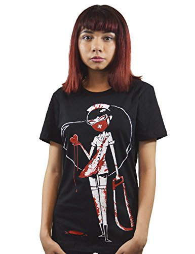 mujer para de Akumu Tinta Camiseta Negro manga corta wqYx7px