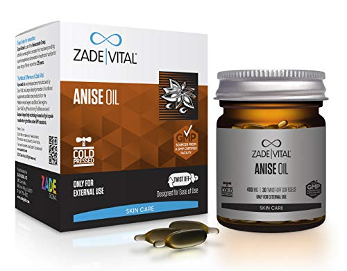 Zade Vital Anise Oil for Skin, for Use As Cosmeceuticals, in Twist-Off 30 Softgels, Easy to Use, 100% Cold Press, Non GMO, GMP, 1 Month Supply