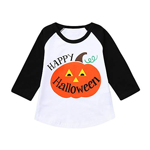 XoiuSyi,Happy Halloween Children Boys Girls Cartoon Letter Pumpkin Print Top T-Shirt Clothes