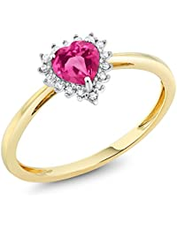 10K Two-Tone Gold 5mm Pink Created Sapphire and Diamond Heart Shape Ring