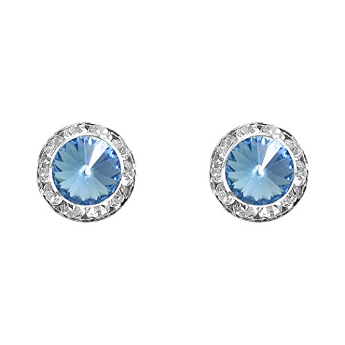 Rosemarie Collections Women's Halo Crystal 11mm Rondelle Stud Earrings (Light Sapphire)