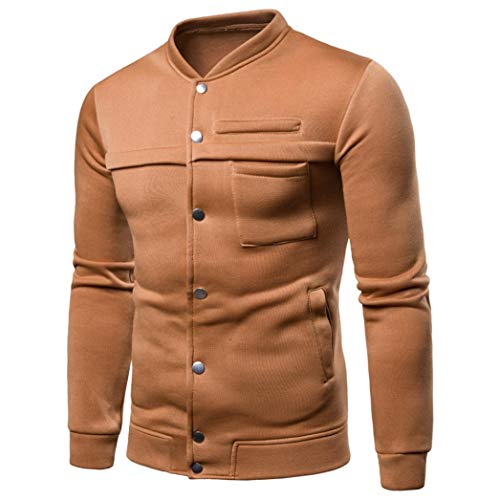 kaifongfu Pullover Tops,Men Pure Color Long Sleeve Sweatshirt Tops Hooded Men Blouse(Yellow,XXXL) -