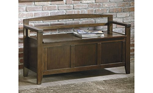 Ashley Furniture Signature Design - Charvanna Storage Bench - Hinged Seat - Burnished Brown Finish