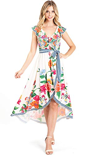 Flying Tomato Women's Sleeveless Chiffon Floral Print Dress (L, Floral Ivory)