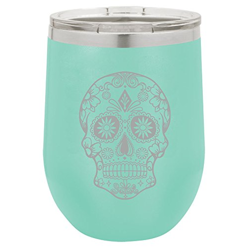 12 oz Double Wall Vacuum Insulated Stainless Steel Stemless Wine Tumbler Glass Coffee Travel Mug With Lid Sugar Candy Skull (Teal) ()
