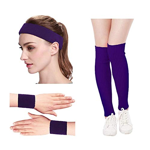Kimberly's Knit Women 80s Neon Pink Running Headband Wristbands Leg Warmers Set (Free, Purple)
