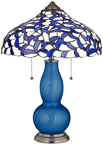 Ocean Metallic Gourd Table Lamp with Iris Blue Shade - Tiffany Color - Bronze Table Lamp Iris