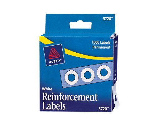 Avery Self-Adhesive Polyvinyl Standard Diameter Hole Reinforcements, White, 1,000 per Pack (5720)