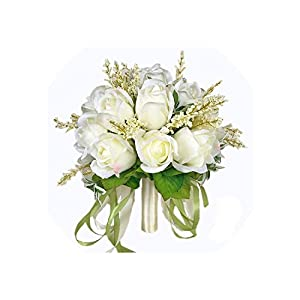 meet-you Bridal Bouquet Ivory Rose Throw Wedding 18 Flowers Bridesmaid Bouquet,As Pic 65