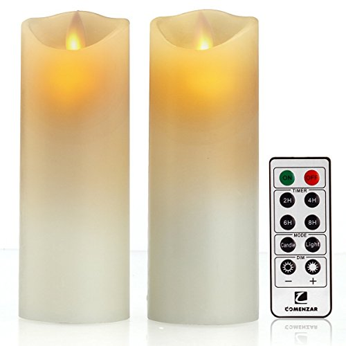 Candle Wall Sconce Set of 2 and Classic Pillar Real Flame-Effect Flameless LED Candles Set 6'' X 2.15'' with Remote and Timer Feature White Color - Set of 2 Metal Iron Glass Home Decor Room Bronze by Piller (Image #1)