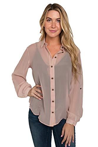 (Standards & Practices Modern Women's Light Rose Silk Button High-Low Hem Blouse Size Medium)