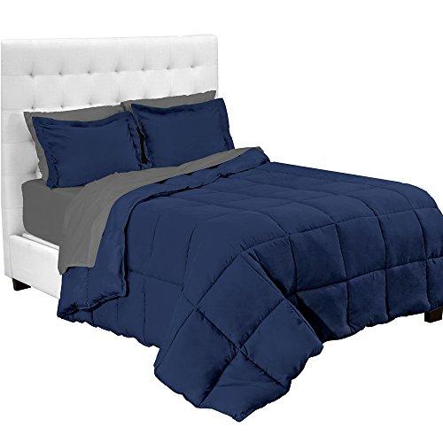 Full Bed Set - 7-Piece Bed-In-A-Bag - Full (Comforter Set: Dark Blue, Sheet Set: Grey)