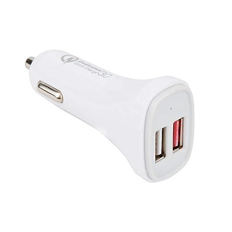 ADWITS QC 3.0 Cargador de Coche, Puertos USB duales Cargador rápido de 30 W para teléfonos Inteligentes Tablet Power Bank y más, Blanco