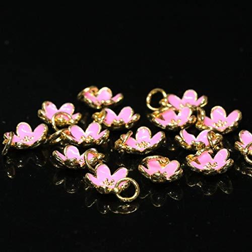 Calvas 11mm Pink Enamel Cloisonne Flower Shape Accessories 10pcs Gold-Color Bracelets/Necklaces DIY Jewelry Making B2483