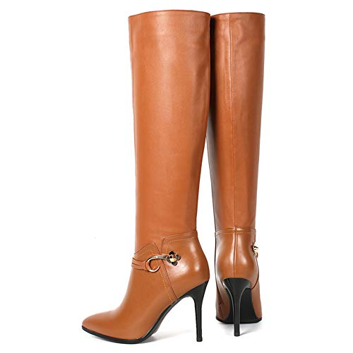 Heels Toe With Women's High Brown Autumn Dance Decoration Froie Winter amp;Style Stiletto Boot Pointed Knee U84xafY