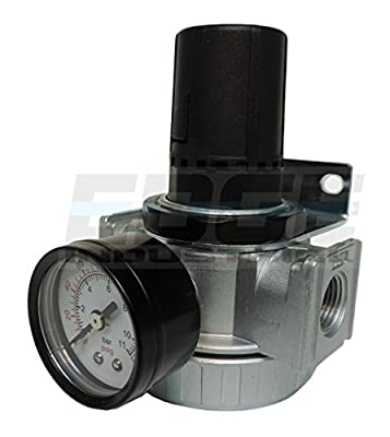 "3/8"" In-line Compressed Air Pressure Regulator, 7 To 150 Psi Adjustable, Bracket, Gauge"