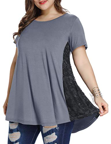 LARACE Women Lace Tunic Top Short Sleeve Flare T Shirt for Leggings(1X, Deep ()