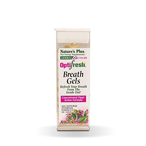 (Natures Plus Herbal Actives Optifresh Herbal Breath Gels - 50 Count - Maximum Potency Natural Bad Breath Remedy, Herbal Halitosis Relief - Gluten Free - 25 Servings)