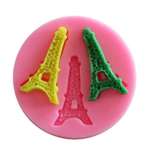 Yunko 3 Cavity Eiffel Tower Shape DIY Cake Cupcake Decorating Fondant Silicone Sugar Craft Molds -
