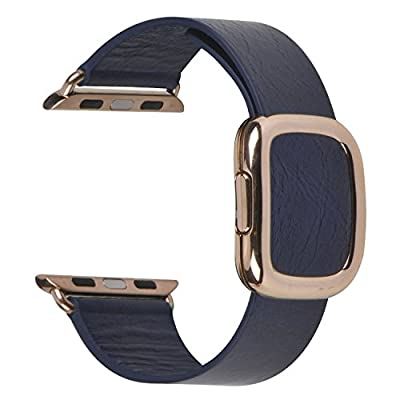 JSGJMY Smart Watch Band 42mm Leather Bracelet Replacement Strap for Smart Watch Sport & Edition (Navy+Rose Gold Buckle, 42mm L)
