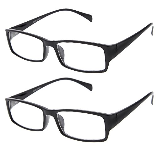 grinderPUNCH Plastic Rim Clear Lens Plano Glasses for Men and Women 2 Pack