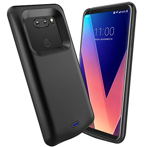 ANSEN LG V30 Battery Case, 4200mAh Slim Wireless Charger Case, Rechargeable Extended Charging Case [USB - C Port and Soft TPU Full Protection] Compatible LG V30/V30+/V30S/V35/V35 ThinQ(Black) (Total Color Extend Recharge)