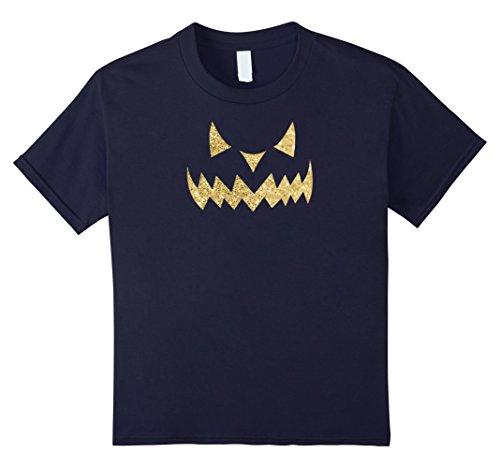 Scary Demon Face (Kids Scary Halloween Evil Demon Pumpkin Face T-shirt (Sand) 12 Navy)