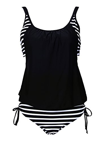 - ACHICGIRL Women Black Color Block Narrow Striped Tankini Adjustable Bottoms Cross Back Layered-Style Swimwear, Black&Narrow Stripe L