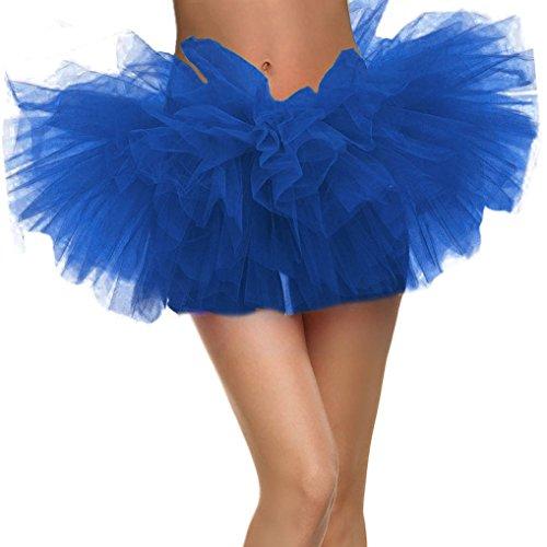 Women's Adult 5 Layered Tulle Mini Tutu Skirt, Royal Blue