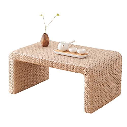 - Vintage Handmade Straw Coffee Table Bay Window Tatami Low Table Cream Color