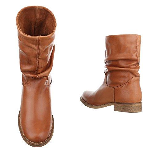 Ital-Design Komfort Stiefeletten Leder Damenschuhe Schlupfstiefel Blockabsatz Blockabsatz Stiefeletten Camel