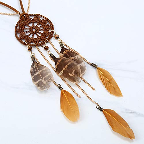 Leather Gold Chain Long Necklace Joeyan Women Dream Catcher Feather Pendant Necklace