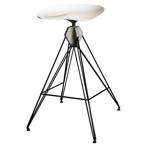 Christian Industrial Loft Iron White Concrete Counter Stool by Kathy Kuo Home