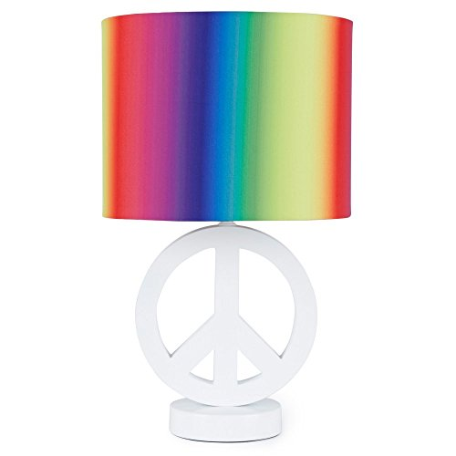 Your Zone Arctic White Peace Sign Table Lamp with Rainbow Drum Shade, CFL Bulb Included