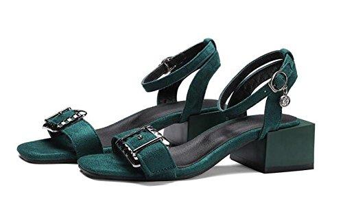 Beauqueen Suede Bombas Open-Toe Chunky Mediados de Heel Summer Buckle Sandalias Casual Personalizado Europa Tamaño 32-48 Green