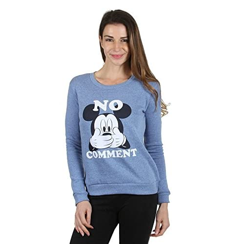 Disney Mickey & Minnie Mouse Womens Sweatshirt Light Blue hot sale