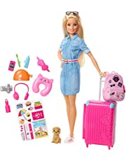Barbie FWV25 Doll and Travel Set with Puppy, Luggage and 10+ Accessories, Multicolour