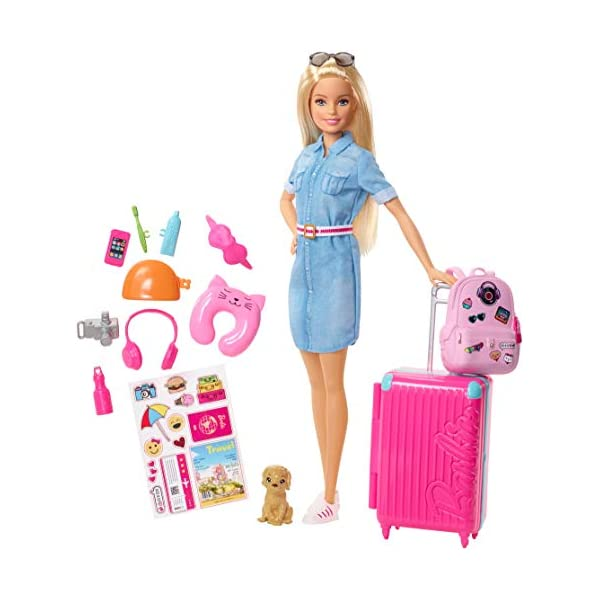 41v9fkC0rdL. SS600  - Barbie Travel Doll, Blonde, with Puppy, Opening Suitcase, Stickers and 10+ Accessories, for 3 to 7 Year Olds…