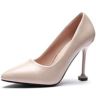 CINAK High Heels Dress Shoes-Pumps for Women Stylish Pointed Toe Stiletto Beige