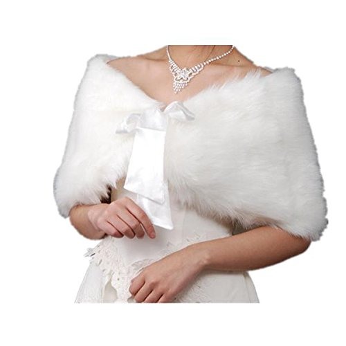 EQLEF® White Faux Fur Wrap Shawl Shrug Bolero Cape Lady Gift with Satin Bowknot, Bridal Ivory Faux Fur Jacket coat shawls stole