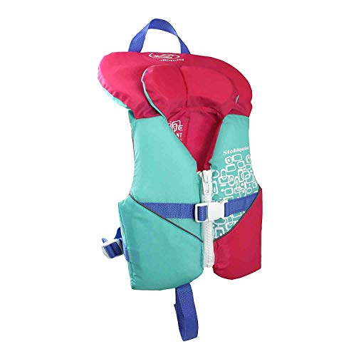 (Stohlquist Waterware Toddler Life Jacket Coast Guard Approved Life Vest for Infants,Aqua/Pink,8 - 30 lbs)