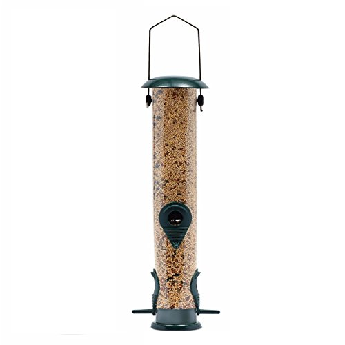 Ashman Bird Feeder, Metal Top and Bottom, Spacious Design, Attractive & Long Lasting, Fill it with Sunflower Black Oil Seeds, Clean and Fill, Great Gift for Friends and Family, Green