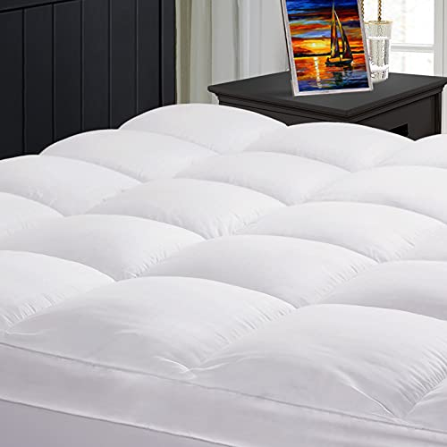 TEXARTIST Extra Thick Mattress Topper Cooling Mattress Pad Cover 400 TC Cotton Pillow Top Mattress Cover Quilted Fitted Bed Topper with 8-21 Inch Deep Pocket