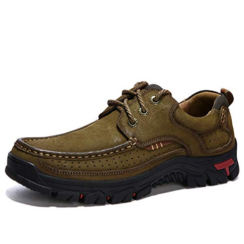 (COSIDRAM Men Casual Walking Shoes Fashion Driving Shoes Luxury Genuine Leather Brown Khaki Leisure Sneakers Breathable Comfort Shoes for Male Business Work Office Dress Outdoor)