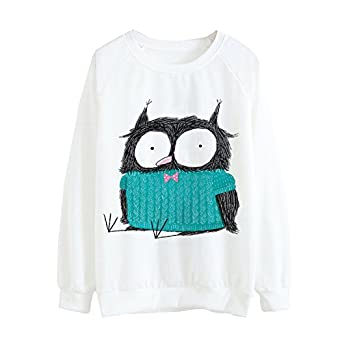 YouzhiWan007-onsale Women New Cartoon Kawaii Owl Print Hoody Harajuku Thin Pullover Hoodies Girls Tracksuit Long Sleeve Sweatshirts 21 One Size at Amazon ...