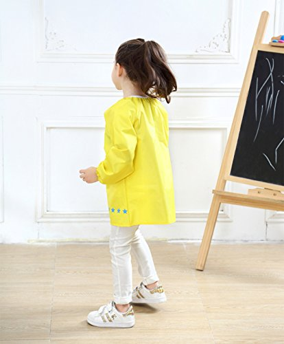 Kids Multifunctional Painting Smock Cute Plane Printing Children's Waterproof Pullover Long Sleeve Bib with Pocket Drawing Apron Yellow 4-6 T by DAWNTUNG (Image #2)