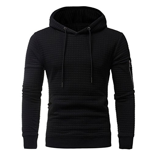 HTHJSCO Hoodie Coats, Men's Casual Funnel Neck Square Pattern Quilted Hoodie Pullover Sweatshirt (Black, XXL) by HTHJSCO