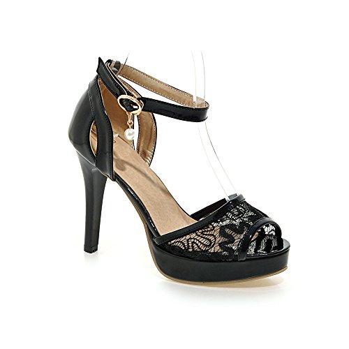 Qin Tacones Black Parte Zapatos Sandalias De Tiras Mujer Dreamgirl Aguja amp;x 1Urqf1